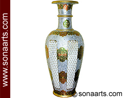 Marble Vase With Meenakari Painting Work Mpt187 Interior