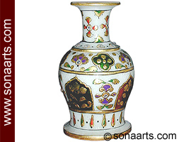 Small Marble flower pot meenakari painting
