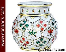 Decorative Small Vase From White Marble Mpt374