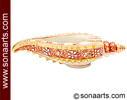 Decorative marble pooja conch with painting