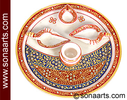 Beautiful Marble pooja thali with hand painting work