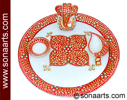 Marble aarti thali designs using rad Shade painting