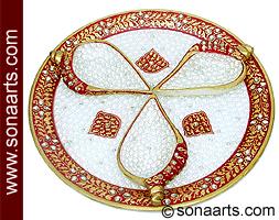 Beautiful puja thali carved from Marble Stone