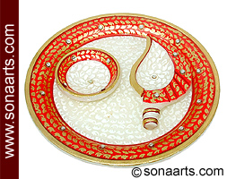 Puja items of marble thali from marble