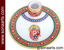 Plate with kalash carved from white marble