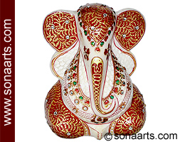Marble Modern Ganesh Statue With Painting Mpuj199