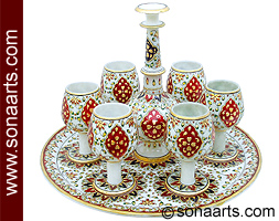 Marble Handicrafts Marble Wine Cup Set Using Painting Work