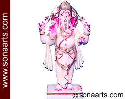 Standing Colored Marble Ganesha statue