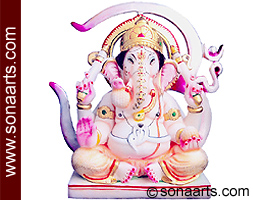 Carved Ganesh Statue from White Marble