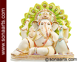 Marble Ganesh Statue Sitting With Peacock Msgn300