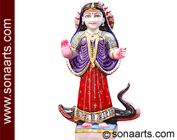 Marble Khodiyar Maa Statue from White Marble