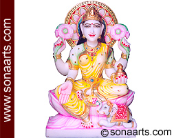 Marble Statue of Laxmi ji from White Marble