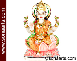Exquisite Goddess Laxmi Statue in Marble