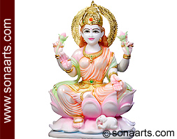 Marble laxmi mata statue carved out from marble