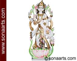 Standing Goddess Laxmi statue carved in marble
