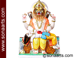 Narsimha Statue Marble Narsingh Statue From White Marble