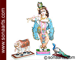 krishna with cow and peacock from Marble