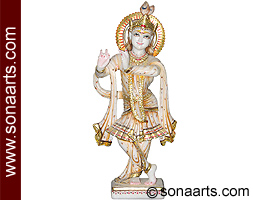Krishna Statue carved in marble stone