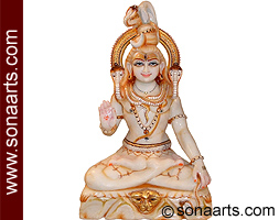 Marble Shankar statue carved out from marble