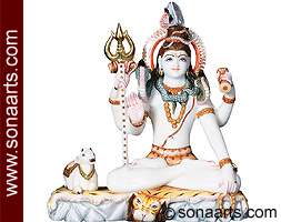 Beautiful Shiva statue with Nandi from Marble