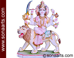 Marble Durga Statue from White Marble