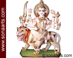 Durga mata statue from White Marble