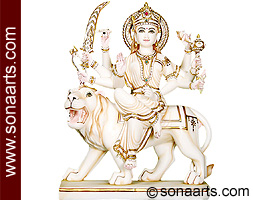 Marble Goddess Durga Statue from Marble