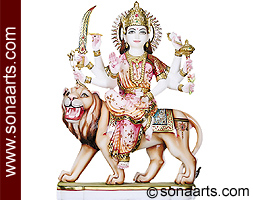 Marble Goddess Durga Statue for temple