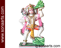 Hanuman statue Carved out in Marble