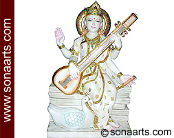 Marble Saraswati statue carved out from marble